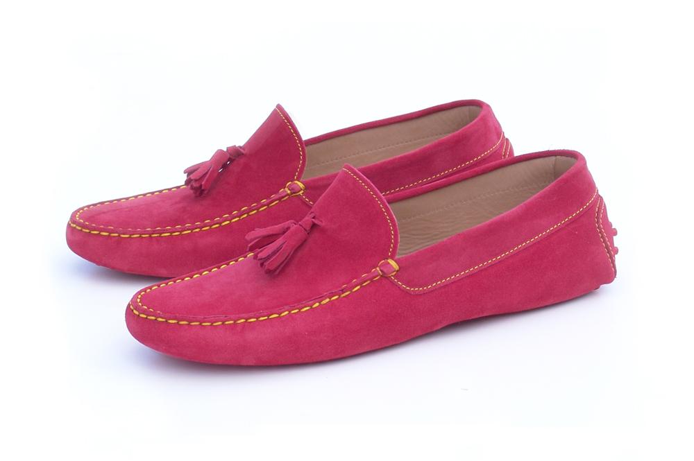 Mocasín Borlas Rojo Ferrari con detalles en Amarillo