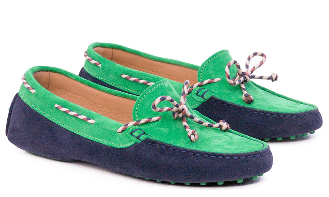 Marino y verde con cordón multicolor